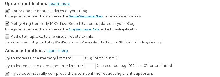 Setting Google XML Sitemaps