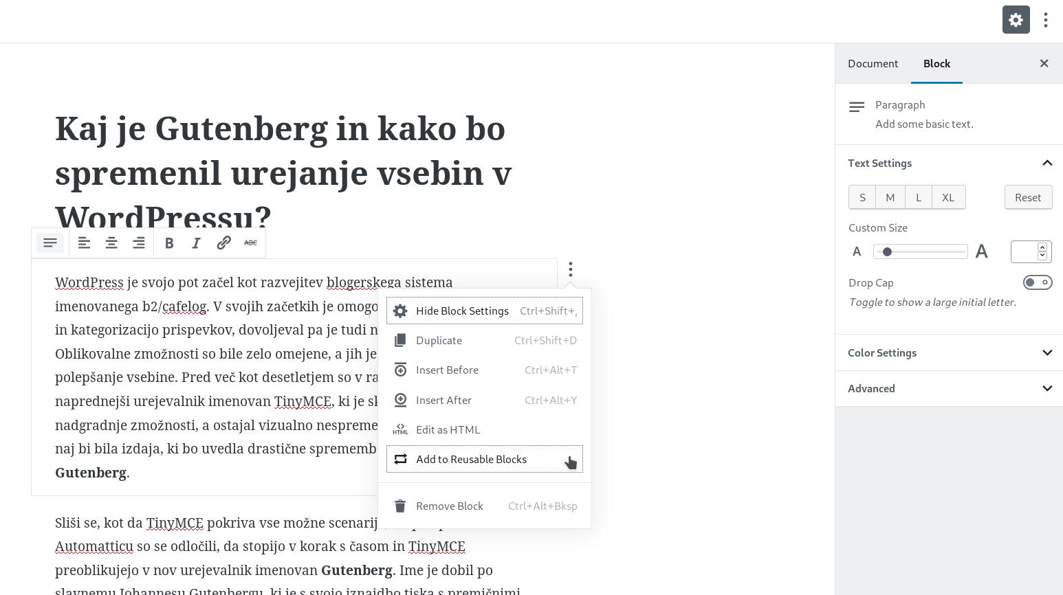 Word processor Gutenberg